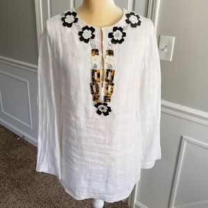 Tory Burch linen embellished tunic
